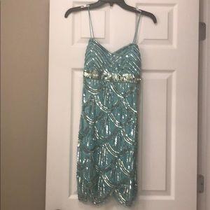 Aqua sparkly dress size 1/2 (fits like XS)